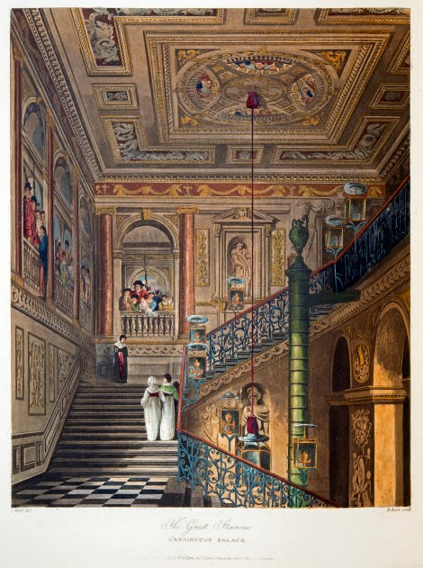 An illustration of the Great Staircase at Kensington Palace with its painted background by William Kent.