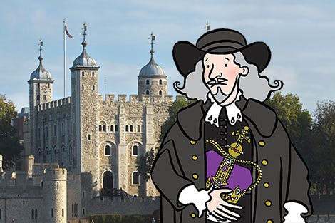 An illustration of Colonel Blood with the Tower of London in the background.