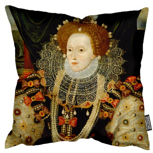 Luxurious soft faux suede cushion featuring a portrait of Elizabeth I, the daughter of Henry VIII and Anne Boleyn.