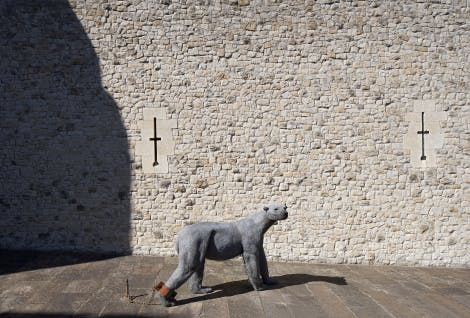 Sculpture of a polar bear made from galvanised wire. Kendra Haste was commissioned by Historic Royal Palaces to create a series of sculptures as part of an exhibition 'Royal Beasts' celebrating the history of the Royal Menagerie at the Tower of London.