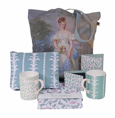 Victoria: A royal childhood collection including palm cosmetic bag, floral mug (mug released in April 2020), portrait tote bag, damask & floret set of two tea towels, floral travel card holder, floral passport holder and palm mug (mug released in April 2020).