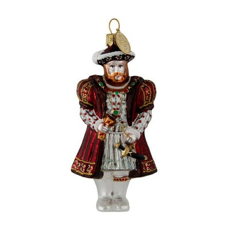 Henry VIII tree decoration in traditional mouth-blown glass. The beautifully hand painted glass is lined with silver plate.