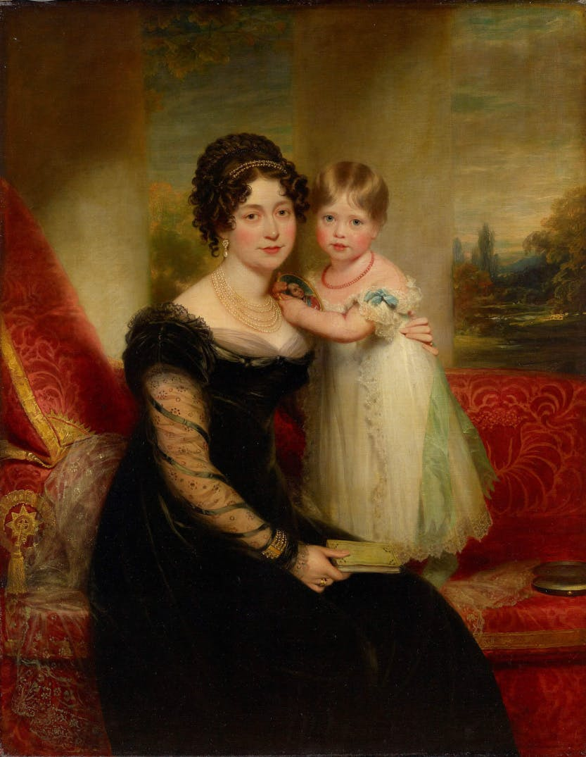 Portrait of Queen Victoria as a toddler with her mother, Victoria, Duchess of Kent.