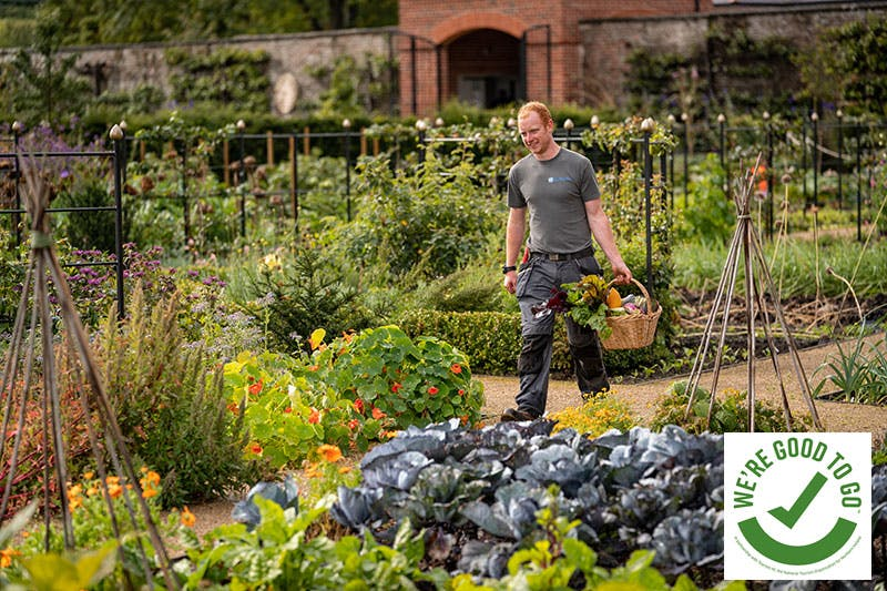 Gardener walking through the Walled Garden at Hillsborough Castle and Gardens. Autumn 2020