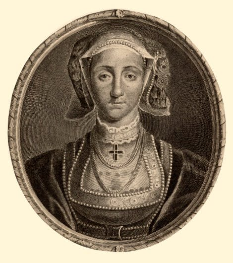 A line engraving of Anne of Cleves by Cornelis Martinus Vermeulen, after Adriaen van der Werff, after Hans Holbein the Younger