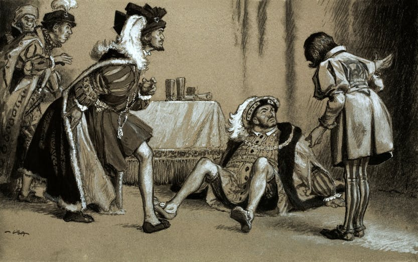 Illustration of King Henry VIII having been thrown to the ground by King Francis I