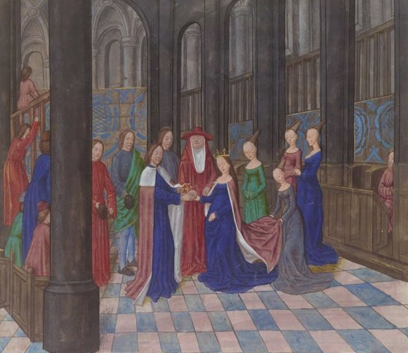 Colourful image from a French manuscript depicting Edward IV and Elizabeth Woodville.