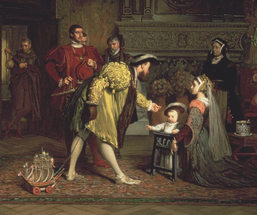 Henry VIII visits his young daughter, the future Elizabeth I, in her nursery. He holds onto a long string attached to a toy boat. Members of the Tudor household look towards the scene.