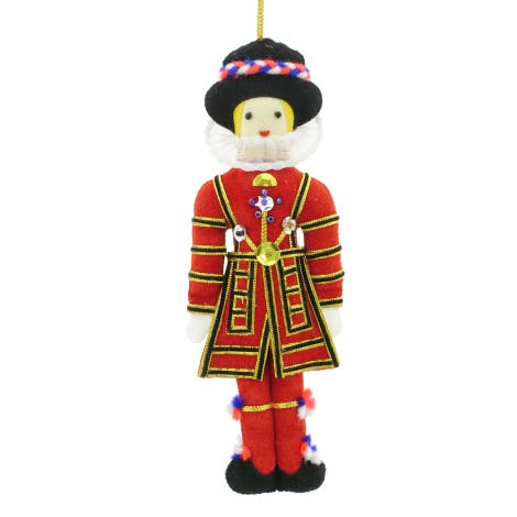 Yeoman Warder Tree Decoration - Yeoman warder tree decoration beautifully handmade with metal and silk threads on satin.