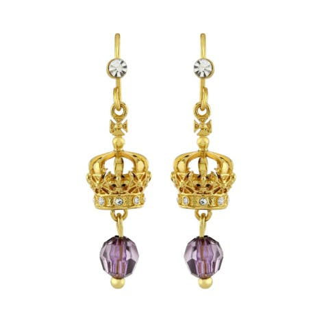 Image is of gold earrings with purple decoration and silver stone details.