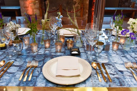 Dinner service on a table in an events venue