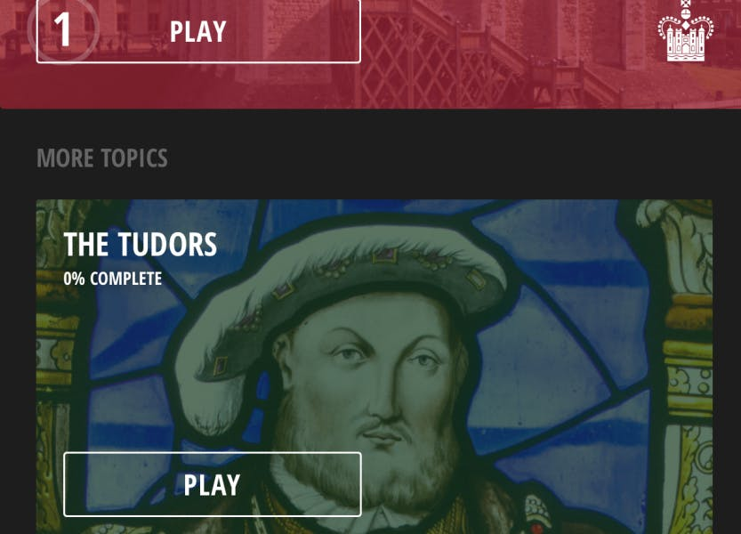 Royal History quiz app showing a screen with Henry VIII.
