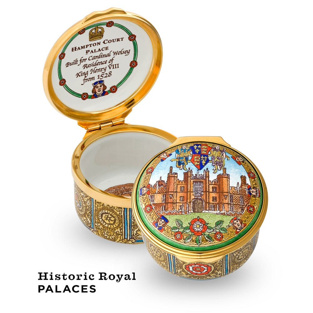 This Hampton Court Palace enamel box has been hand painted and shows Henry VIII's favourite palace in all of its glory.