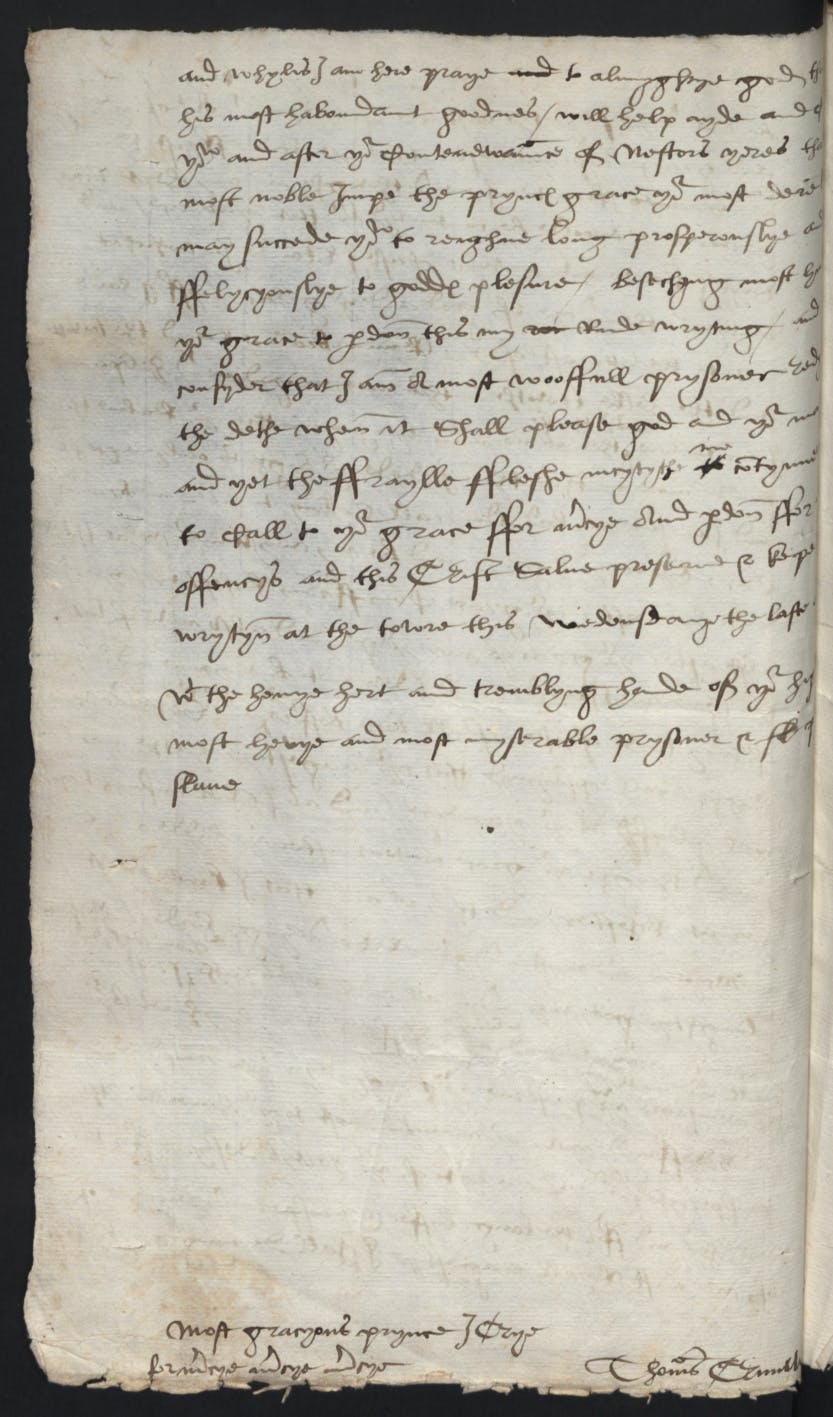 The last letter written to Henry VIII from Thomas Cromwell while he was imprisoned in the Tower of London, awaiting his execution.
