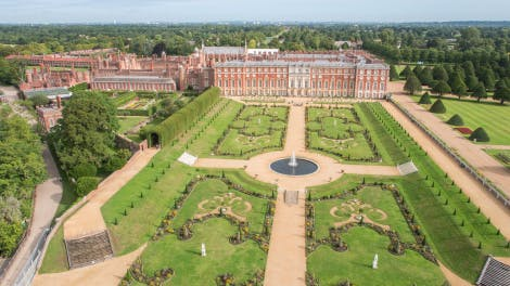 Aerial view of Privy Garden at Hampton Court Palace showing