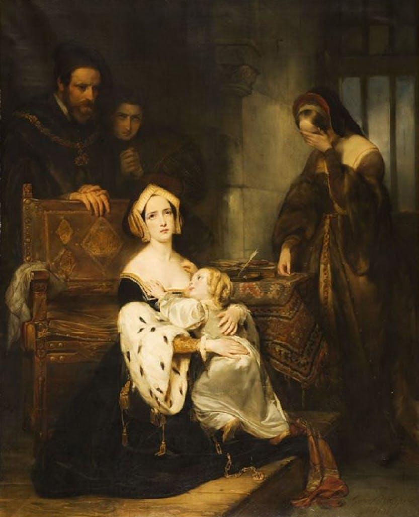 Painting of Anne Boleyn saying goodbye to Elizabeth