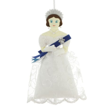 Hand embroidered in silk and metal threads, this luxury tree decoration depicts Victoria as a young Queen.