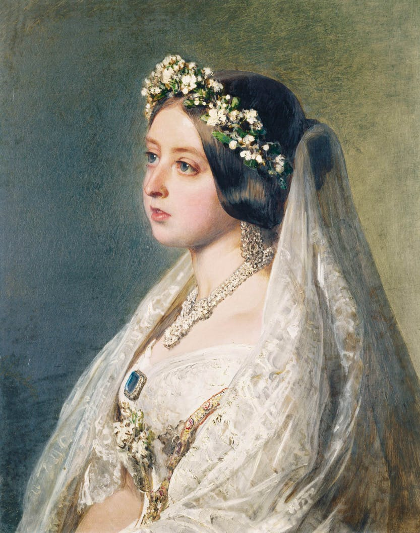 Detail of a portrait of Queen Victoria, in her wedding dress with a flower crown and veil.