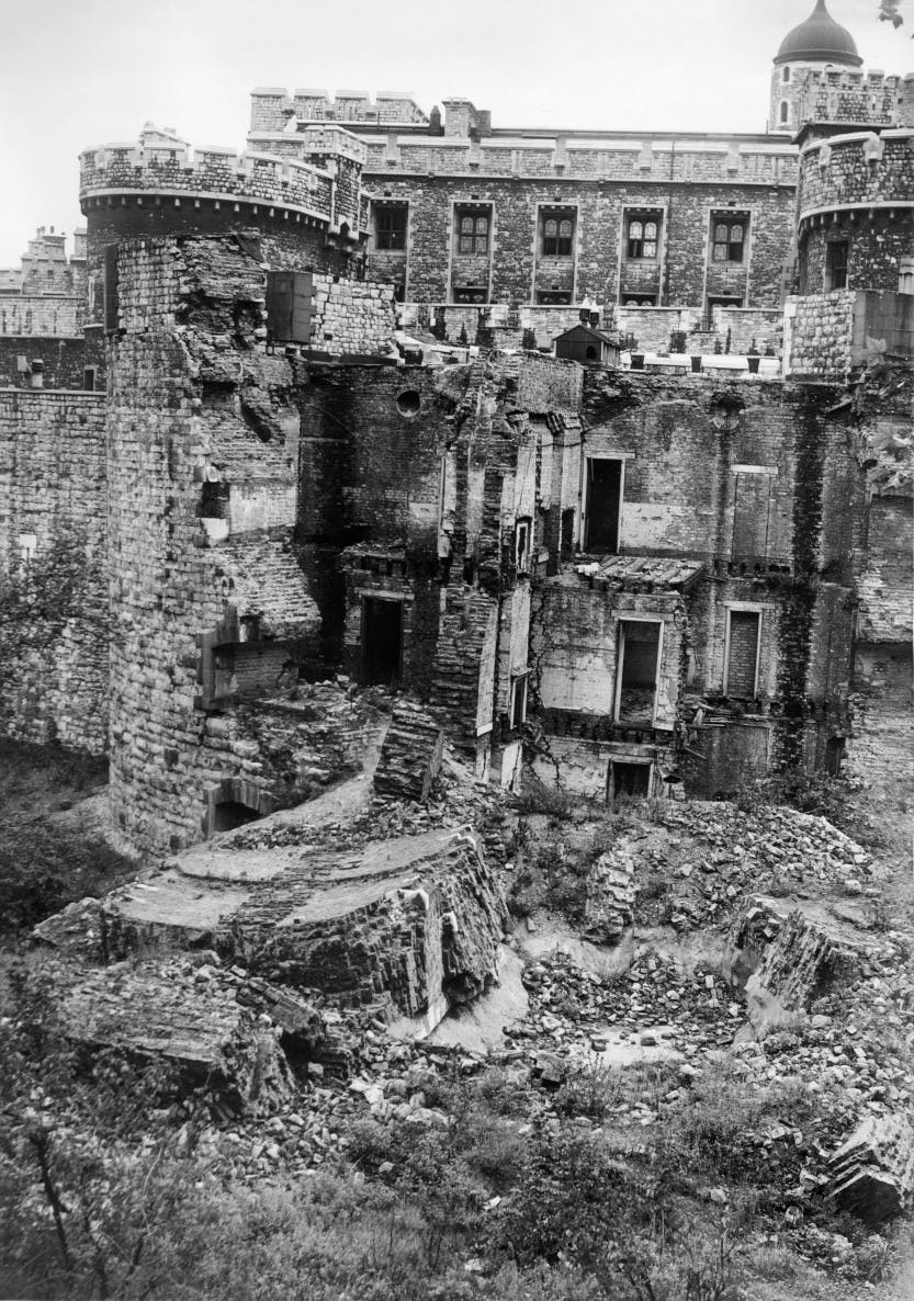 Black and white photograph of the North Bastion destroyed by a bomb on 5 October 1940.