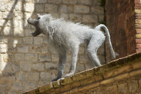 Sculpture of a baboon made from galvanised wire