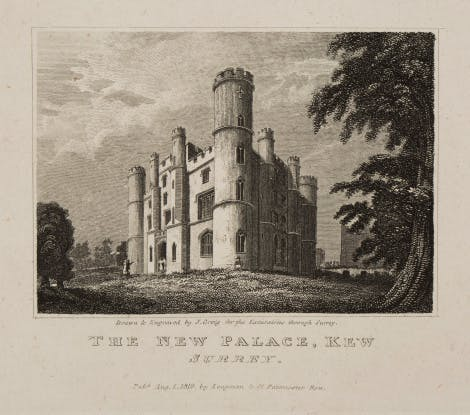 'The New Palace, Kew' - Engraving of the Castellated Palace at Kew, commissioned by George III in 1800.