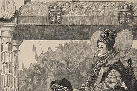 Illustration depicting Queen Elizabeth I (1558-1603) on her way to St Paul's Cathedral on 24 November 1588 to give thanks for England's victory over the Spanish Armada
