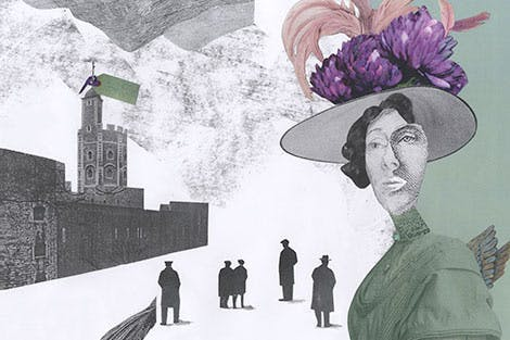 Mixed media illustration of Leonora Cohen, the Tower Suffragette