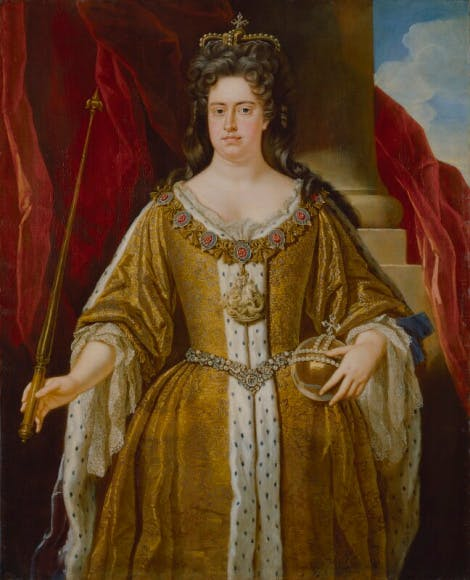 A portrait of Queen Anne holding a sceptre and orb by the studio of John Closterman.