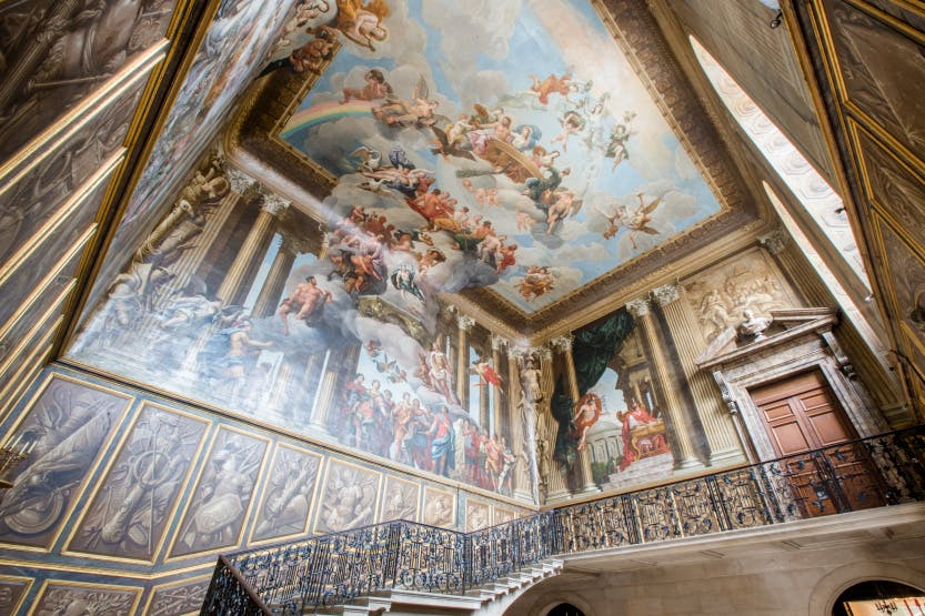 The King's Staircase ceiling, looking south-east. Showing ceiling and mural paintings by  Antonio Verrio.