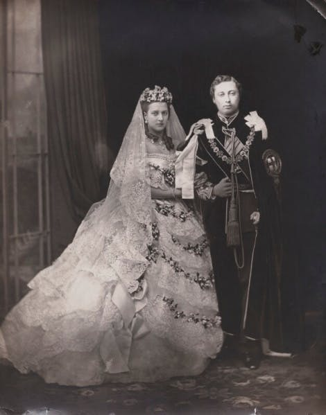 Alexandra, Princess of Wales, formerly Princess Alexandra of Denmark, (later Queen Alexandra) and Albert, Edward, Prince of Wales (later King Edward VII) on their wedding day, 10 March 1863
