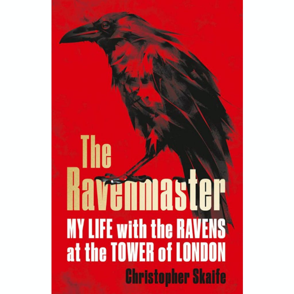 Front cover of the book 'The Ravenmaster - life with the ravens at the Tower of London showing a black raven on red background
