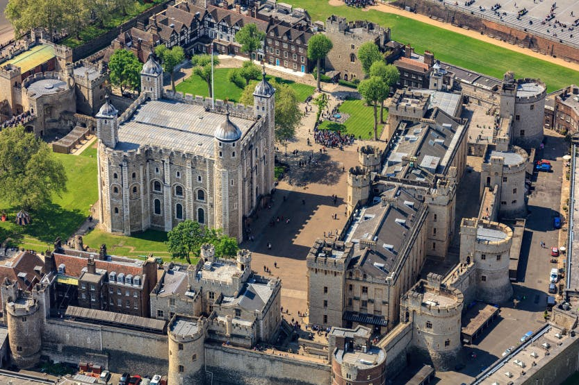 Aerial view of the Tower of London from the north, showing the White Tower in the centre of the fortress