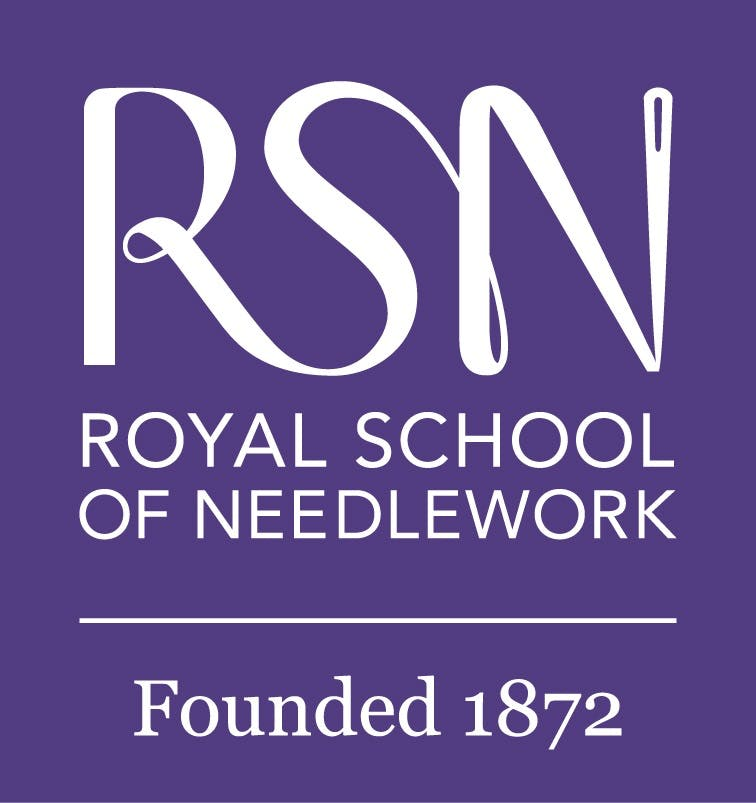 Royal School of Needlework logo. Purple background with white text that reads 'RSN Royal School of Needlwork. Founded 1872'