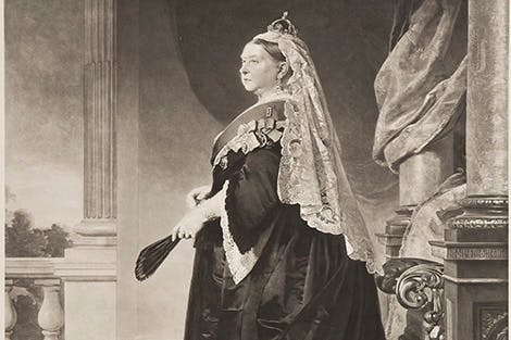 Portrait of Queen Victoria. She wears the ribbon and star of the Garter and the Crown of India.