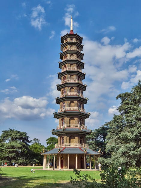The  Great Pagoda, an imitation Chinese octagonal tower of ten storeys, designed by architect Sir William Chambers and completed in 1762. The pagoda was reopened to the public on 13 July 2018 following a five-year restoration project.