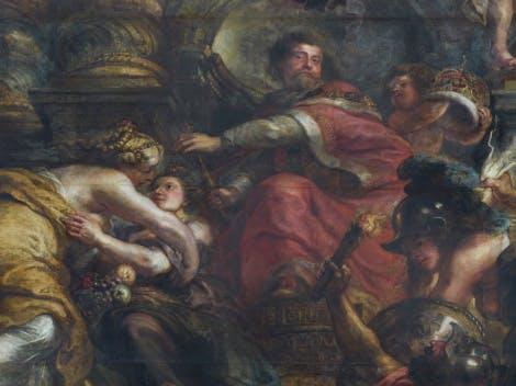 Detail of 'The Peaceful Reign of James I', part of the Banqueting House ceiling by Peter Paul Rubens.