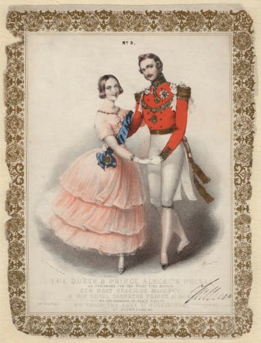An engraving of Queen Victoria and Prince Albert, dancing the Polka, by John Brandard 1840s