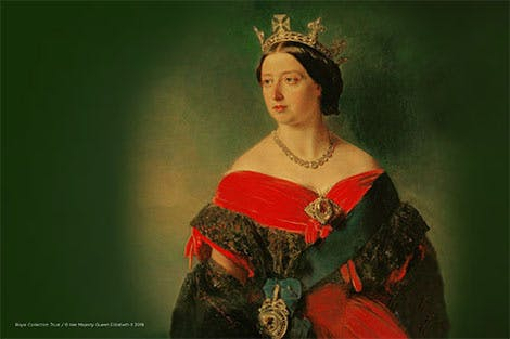 Portrait of Queen Victoria on a green background
