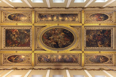 Vertical shot looking straight up at Rubens' Ceiling at Banqueting House Whitehall, London