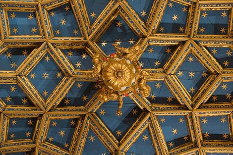 View of the ceiling detail of the Chapel Royal at Hampton Court Palace