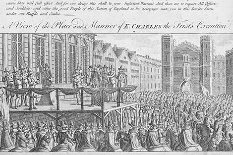 An English print showing King Charles I's execution outside the Banqueting House in 1649