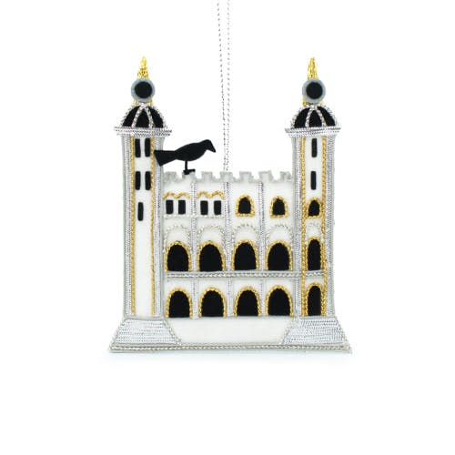 White Tower luxury embroidered hanging decoration features the iconic White Tower with a silhouetted Tower raven perching at the top of the Tower.