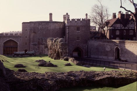 A view of the Wakefield Tower, the Bloody Tower, the Coldharbour gate and the wall of the inmost ward, from North.