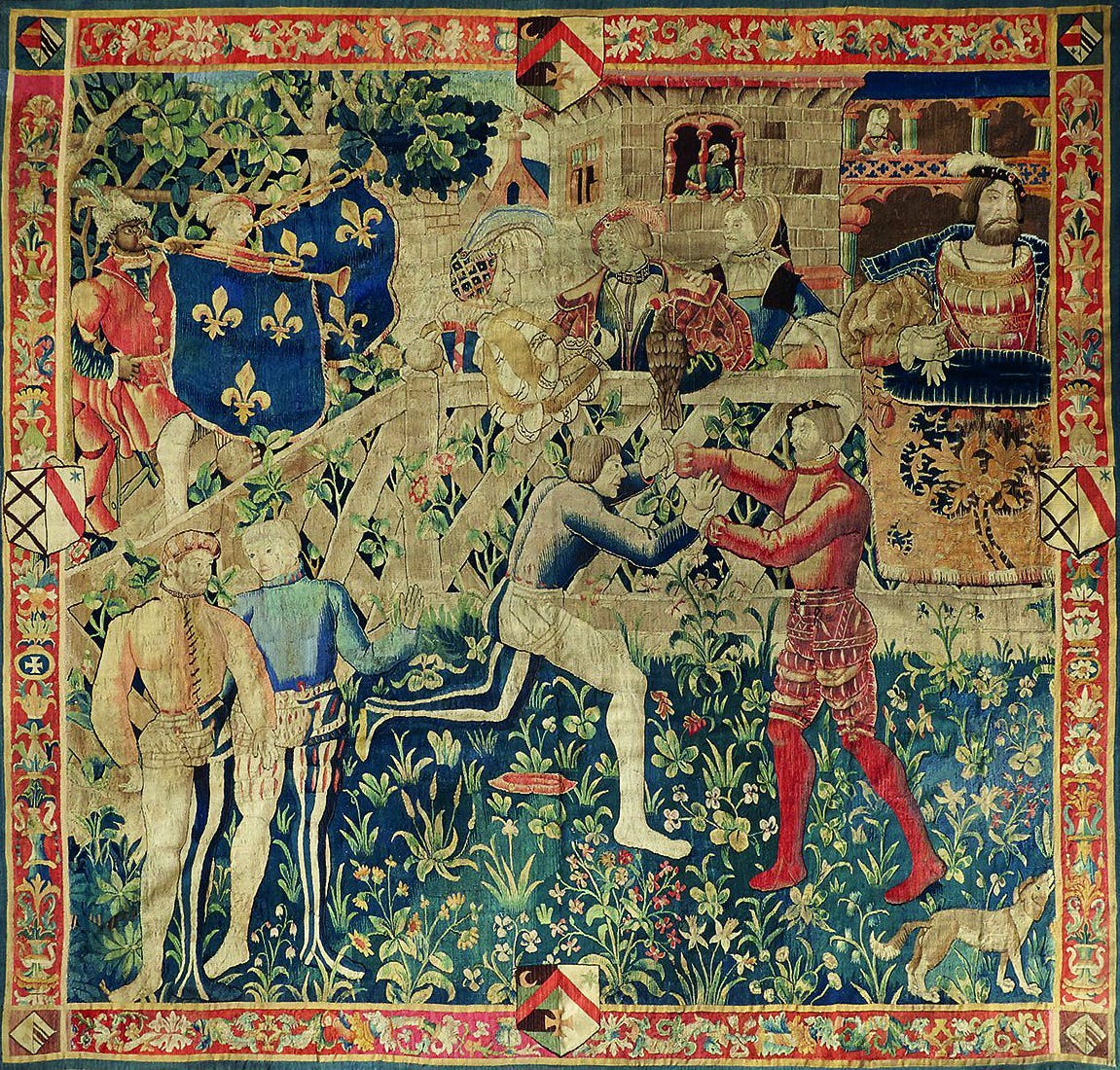 Tapestry depicting King François I of France at the Drap d'Or Camp, attending a contest between two wrestlers.