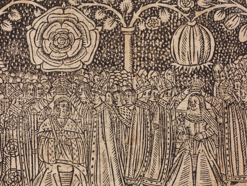 16th century woodcut of the coronation of Henry VIII and Katherine of Aragon. 16th century woodcut of the coronation of Henry VIII of England and Catherine of Aragon showing their heraldic badges, the Tudor rose and the pomegranate
