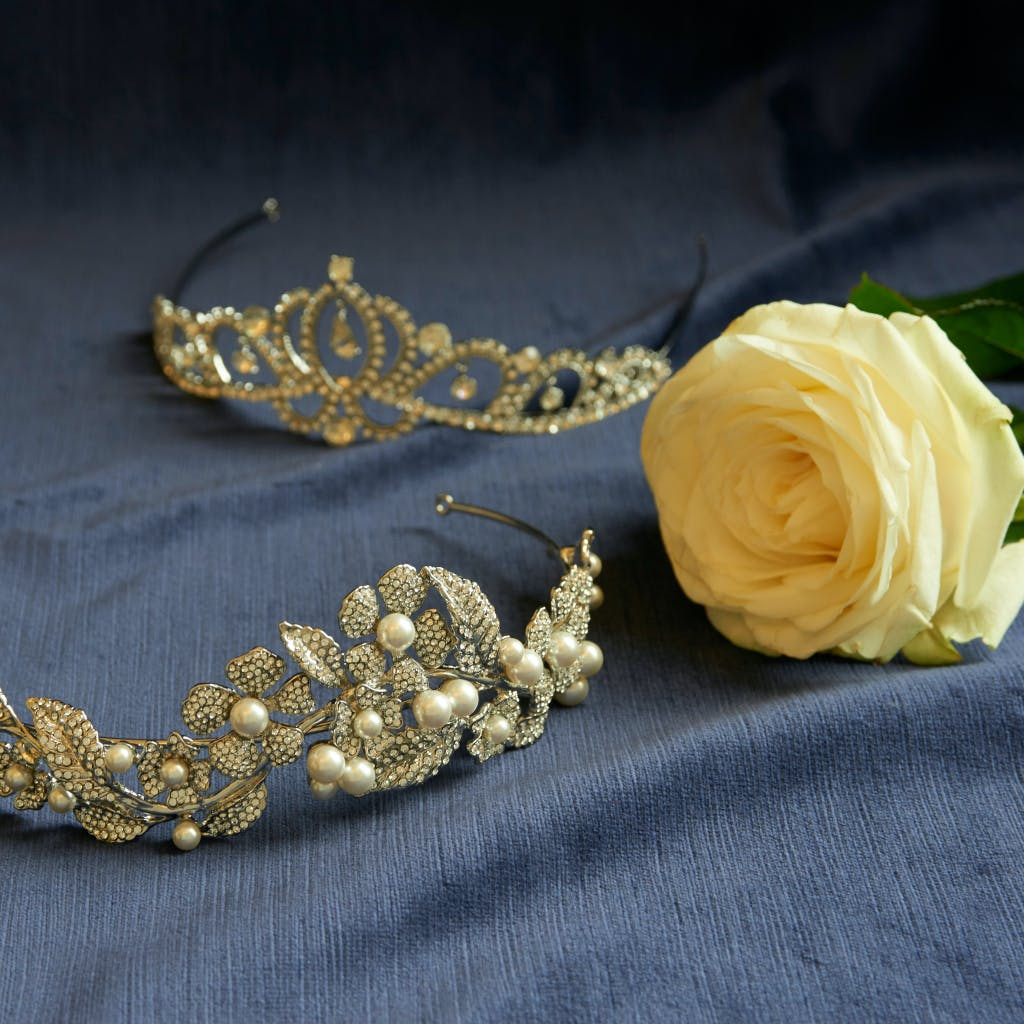 The Wildflower crystal and pearl tiara sparkles with florets of crystals and an elaborate foliage design.