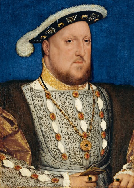 Portrait of Henry VIII, dressed in finery and splendour against a blue background.