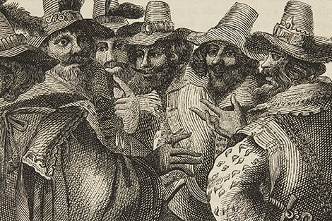 Illustration of the Gunpowder Plot conspirators with their names above them.