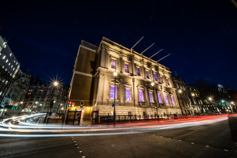 A view of the Banqueting House at night