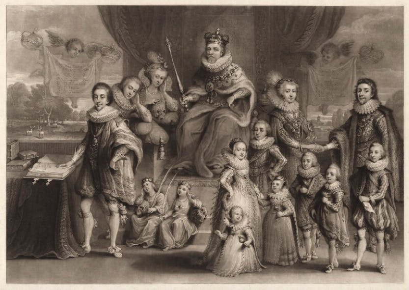 James I surrounded by his royal descendants.